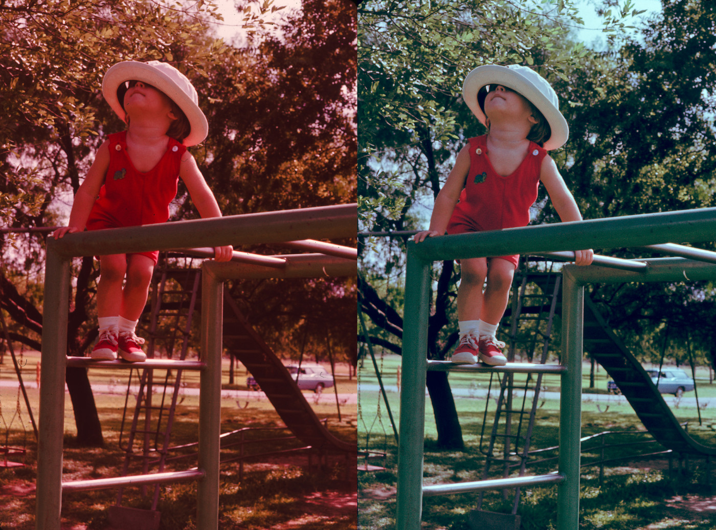 Figure 2. Ektachrome slide, without restoration (left) and restored (right), Corpus Christi TX, August 1975  [Ektachrome, 35mm. Joseph Goins; restoration Idlewild].