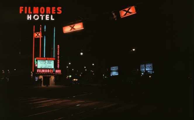 The craft neon legibility of Filmores Hotel: a varicoloured beacon from Toronto's manufacturing age. Today, a fantastic wayfinding landmark. [Idlewild, 17 May 2008]