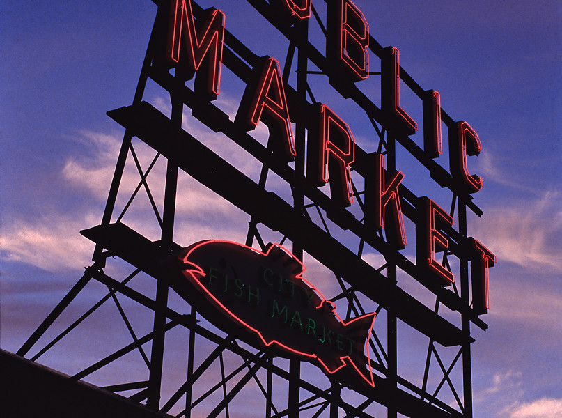 """Neonlith"". The northern end of the Pike Place Market complex, at dusk, Saturday, 15 September 2012. [Idlewild]"