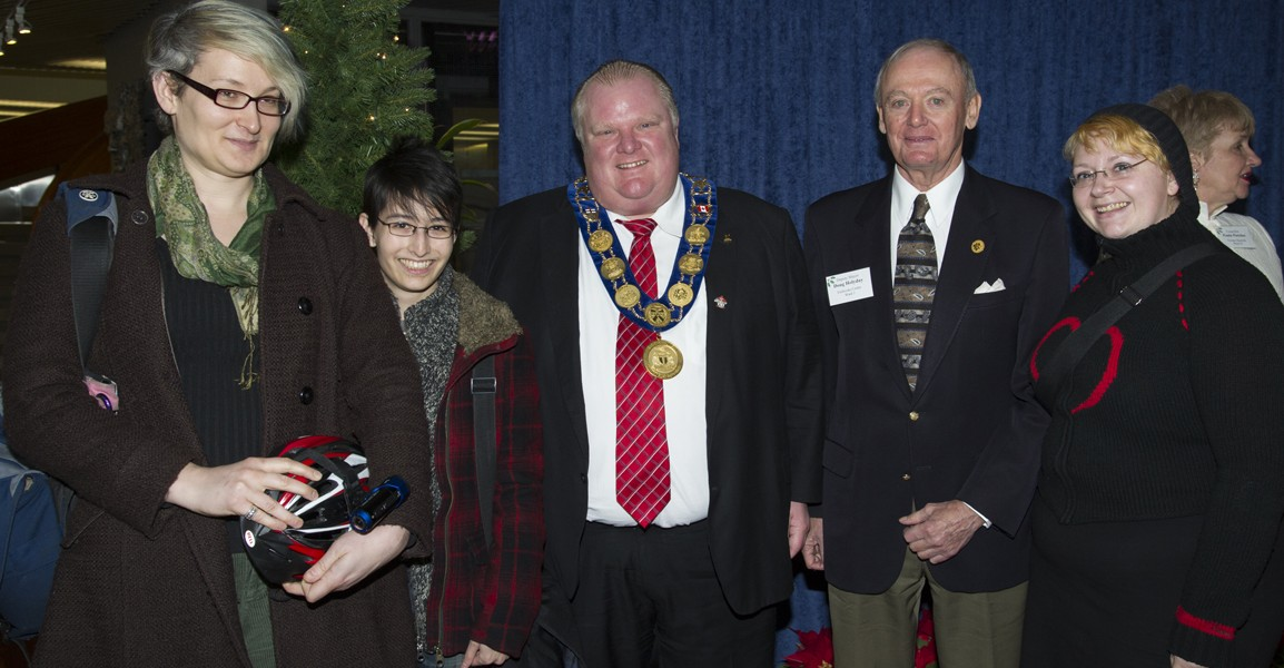 When @accozzaglia, @neville_park and @paisleyrae mugged with Mayor Rob Ford and Deputy Mayor Doug Holyday. Photo: ©© City of Toronto