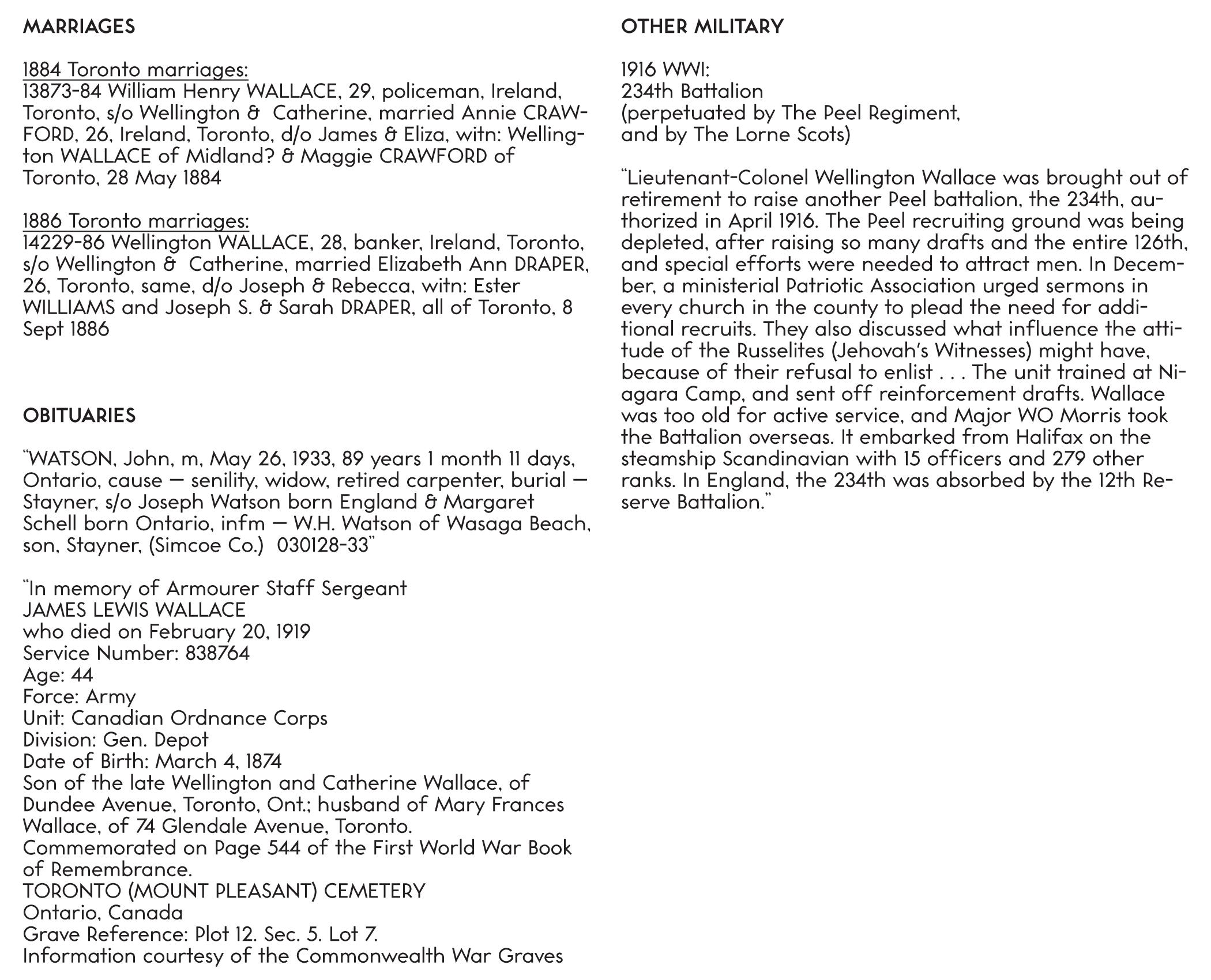 city directory listings by year — Wellington (Sr.), Wellington (Jr.), and John Watson