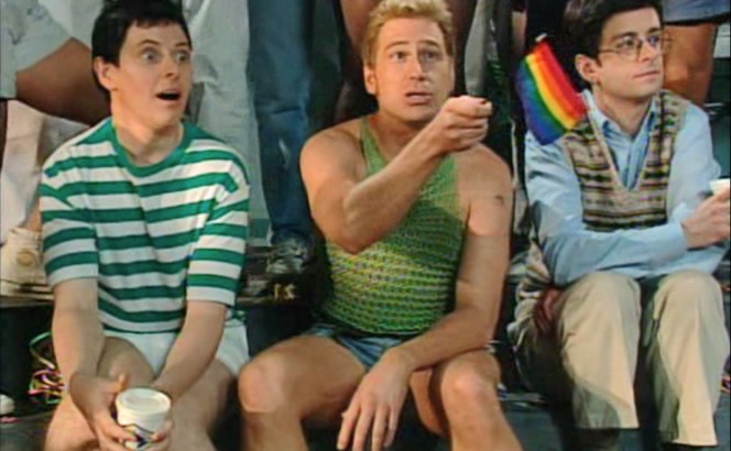 "Steps: gay pride parade"" [Kids in the Hall (season 5, episode 5), aired 7 December 1994. New York: Broadway Video]."