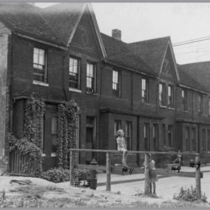 Figure 13. 3–13 Midland Pl. (east side), formerly Wallace Ave. Lane created and row housing built by William Wallace in 1887 (City of Toronto Archives, 18 August 1949).