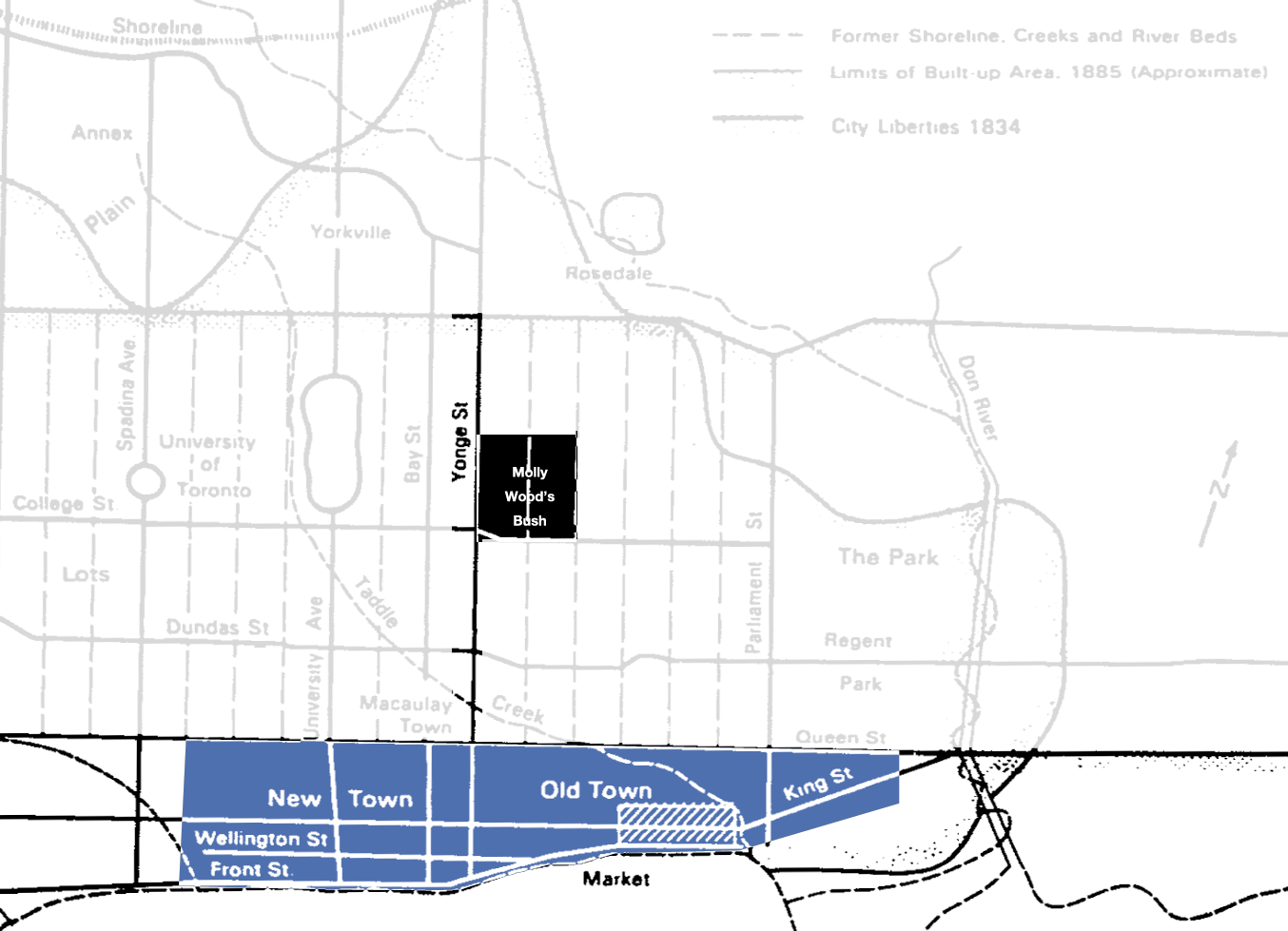 Figure 1. Extent of development (unmasked areas in blue, roads in black) for Town of York, ca. 1820s. Molly Wood's Bush (black) overlapped two park lots [Spelt 1984 (with adaptations by Idlewild)].