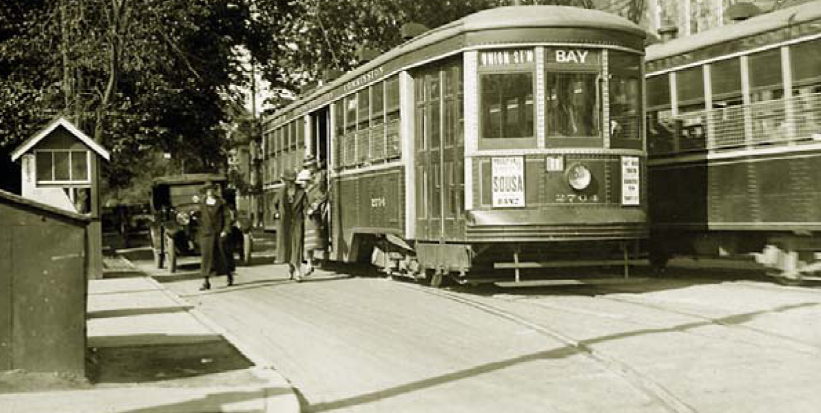 Fixed-rail transit, Avenue Rd. at Bloor St., facing north, 14 September 1925 (source: City of Toronto Archives, series 71, s0071_it4039).
