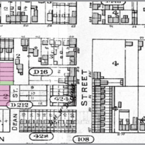 Figure 6. Goad's Atlas of the City of Toronto, 1884. Clara St. not yet built into lot #1 of Oak St, south side. Housing for 1–9 Clara under construction, while 2 and 6 are freestanding. 30–34 Oak still shown as dwellings, not east Presbyterian Church. Dean St. lots not yet divided for row housing. No Wallace Ave. presence yet, as the Wallace holdings were still under ownership of Thomas Davies (see lot #5 of Wilton Ave, north side).