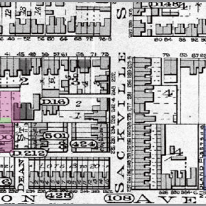 Figure 7. Goad's Atlas of the City of Toronto, 1890. Major development throughout, reflecting boom in growth. Clara St. now built. Wallace Ave. (as Midland Pl.) half-developed.