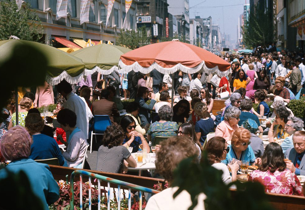 Figure 7. Yonge Street Mall, ca. 1971. From summers 1971 to 1974, the street, roughly a kilometre stretch, was designated as a municipal public space and populated by cafés and public seating areas [City of Toronto Archives: Item 6, Fonds 1465].