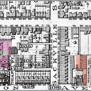 Figure 8. Goad's Atlas of the City of Toronto, 1894. Watson's lot houses on Wallace Ave. built and laneway widened. East Presbyterian on Oak St. also complete.