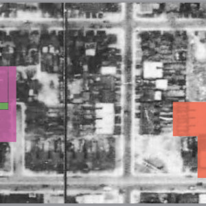 Figure 9. Aerial map of the Wallace-built laneways, just before demolition for Regent Park. Richard Wallace built and owned magenta properties. Wellington (Sr.) owned and lived in the green property. William built the blue properties. He resided at the dark grey property (338 Wilton), selling the yellow property (346 Wilton) in 1891 to John Walsh. John Watson built the red properties (City of Toronto Archives, 1947).