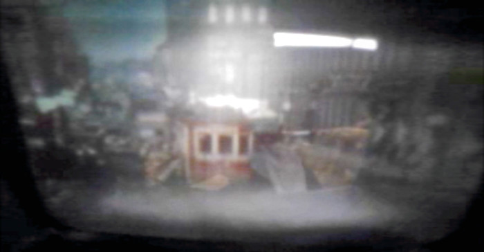 Figure 4.2. Cinescope view of frame from TTC reel (accession KT2011011), Bloor & Yonge, winter 1940 [Idlewild].