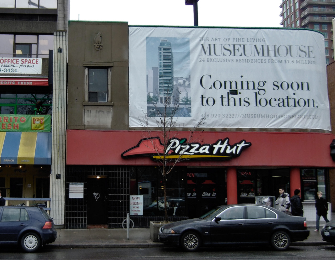 Figure 1. Site of the Museumhouse condo tower, as proposed, 2007. Prominent branding of the name was visible at the site until project neared completion in 2011 and all units were (presumed) sold. [Idlewild]
