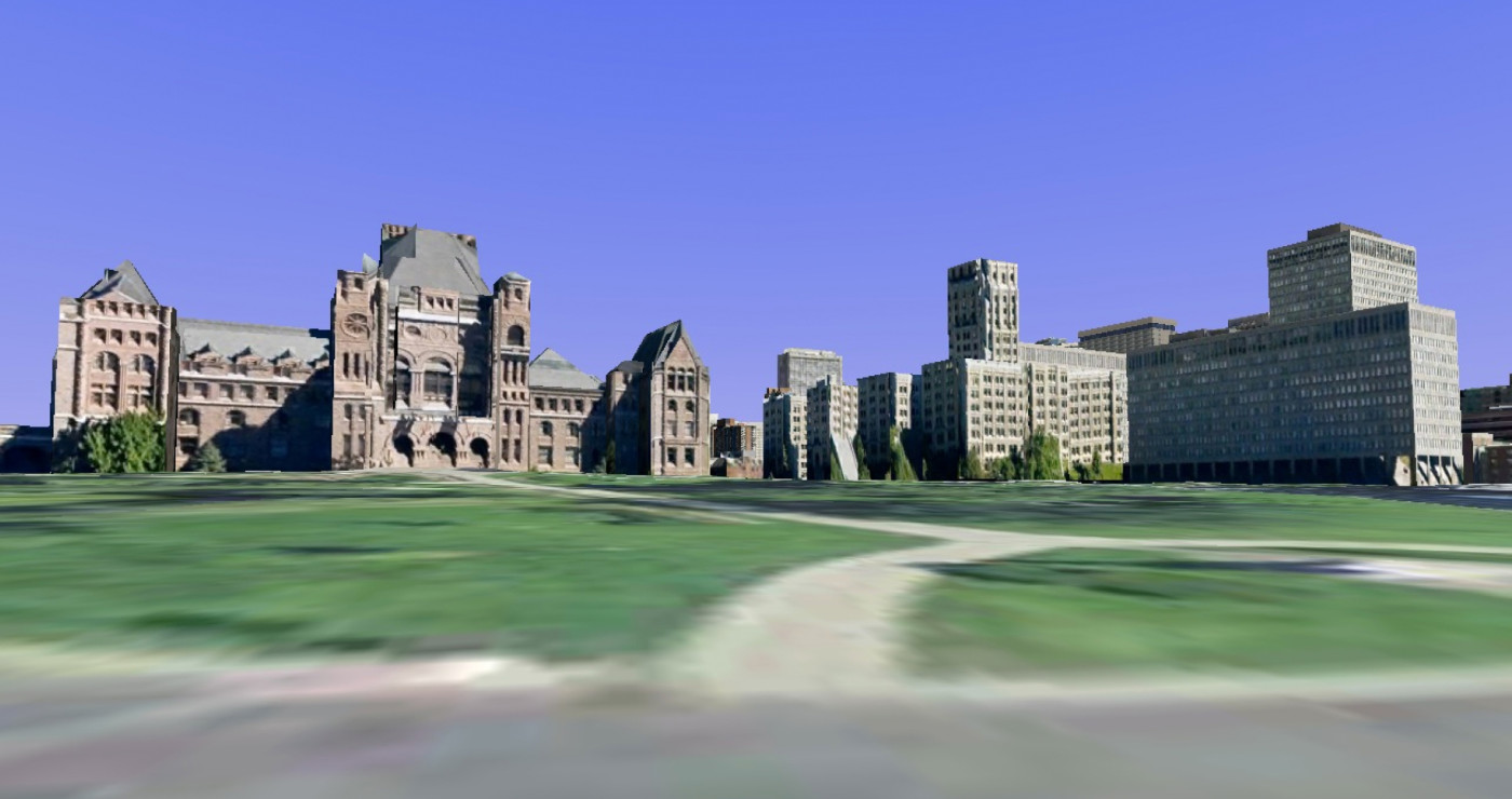 Figure 5.1. 3D polygon VR simulation, ground view of Queen's Park, 2009. [Google Earth]