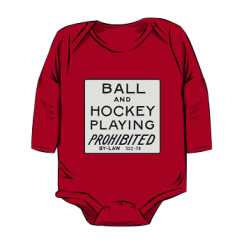 ball & hockey playing prohibited - onesie silhouette
