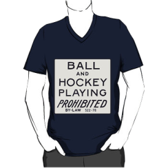 ball & hockey playing prohibited - vneck silhouette