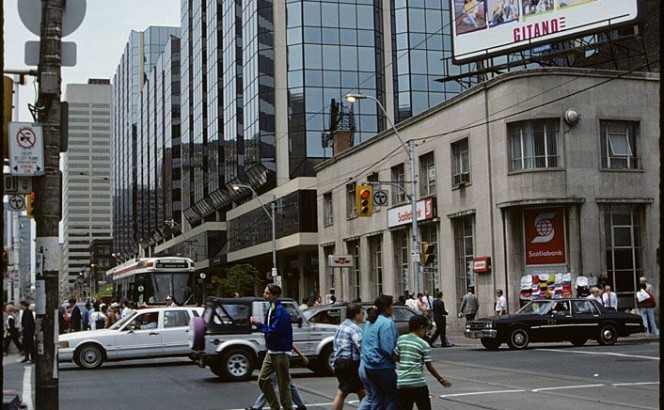ca. 1991, Yonge & Dundas, facing west, in Kodachrome [F. Ellis Wiley, City of Toronto Archives, f0124_fl0008_id0322]