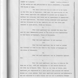 Appendix A–1 [Order for Change of Name, State of Minnesota, for Sandra Valdesuso, 1968]