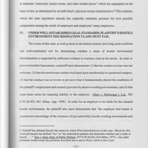 Page 13 [Legal Argument: IV. Under Well-Established Legal Standards, Plaintiff's Hostile Environment Discrimination Claim Must Fail]