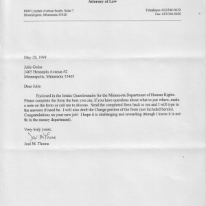 Cover letter from Joni Thome to Julienne Goins