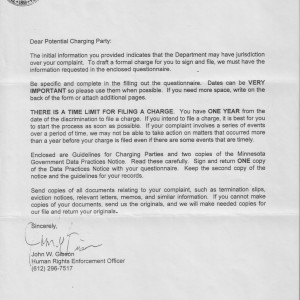 Cover letter from Minnesota Department of Human Rights (MnDHR)
