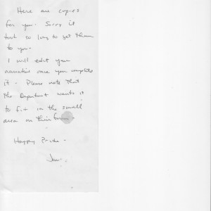 Handwritten note by Joni Thome to Julienne Goins